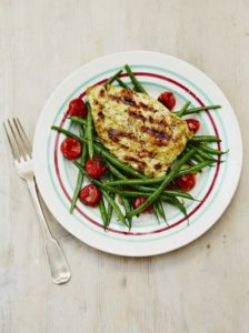 barbecued-chicken-with-warm-green-bean-salad